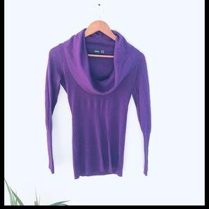 Mexx Cowl-Neck Wool Blend Sweater Purple Size XS